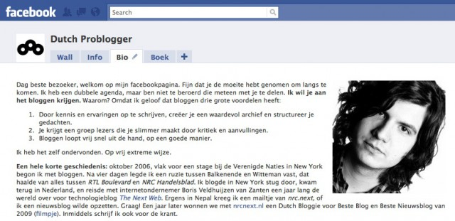 Screenshot van m'n biografie op Facebook