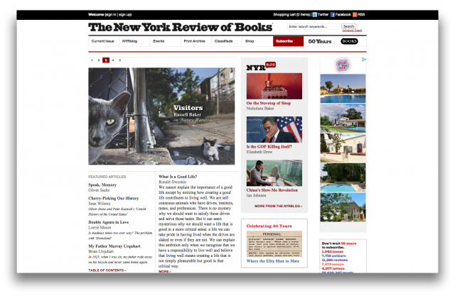 Screenshot van The New York Review of Books