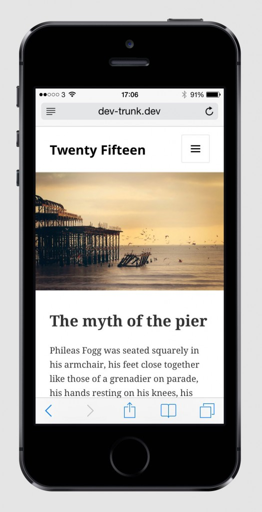 Screenshot of TwentyFifteen on portrait iPhone.