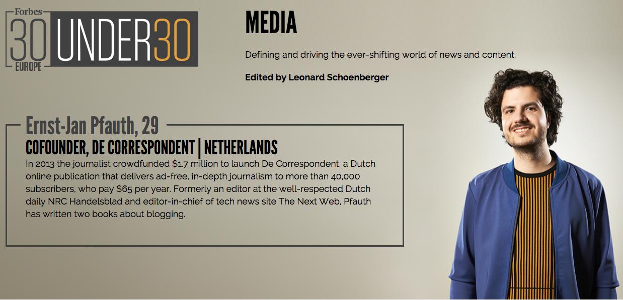 Ernst-Jan Pfauth in Forbes 30 under 30