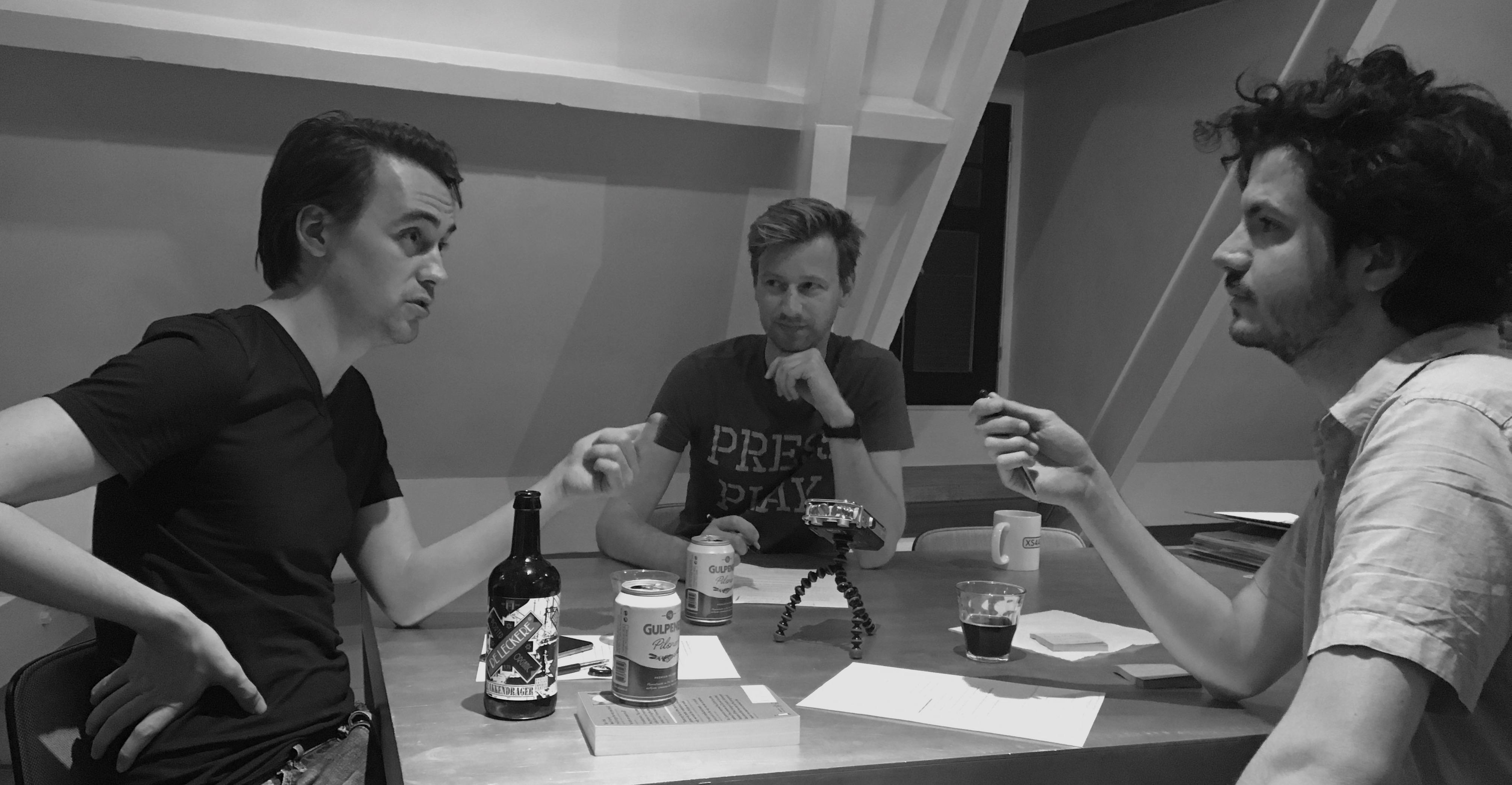 Alexander, onze producer Botte Jellema en ik, afgelopen dinsdagavond